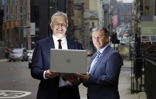 St Vincent Street, Glasgow city centre. 18.8.16  Pictured are: David Siegel - Managing Director of HighNet (striped tie) and James McClafferty, Business Development Director (Scotland) of CityFibre.  Free PR Use for Weber Shandwick.  Further information available from: Dyan Owen Senior Account Managerr  Weber Shandwick  T 44 (0)141 343 3254  M 44 (0)7786203121  E dowen@webershandwick.com   Pictures Copyright: Iain McLean 79 Earlspark Avenue G43 2HE 07901 604 365 www.iainmclean.com photomclean@googlemail.com 07901 604 365 ALL RIGHTS RESERVED
